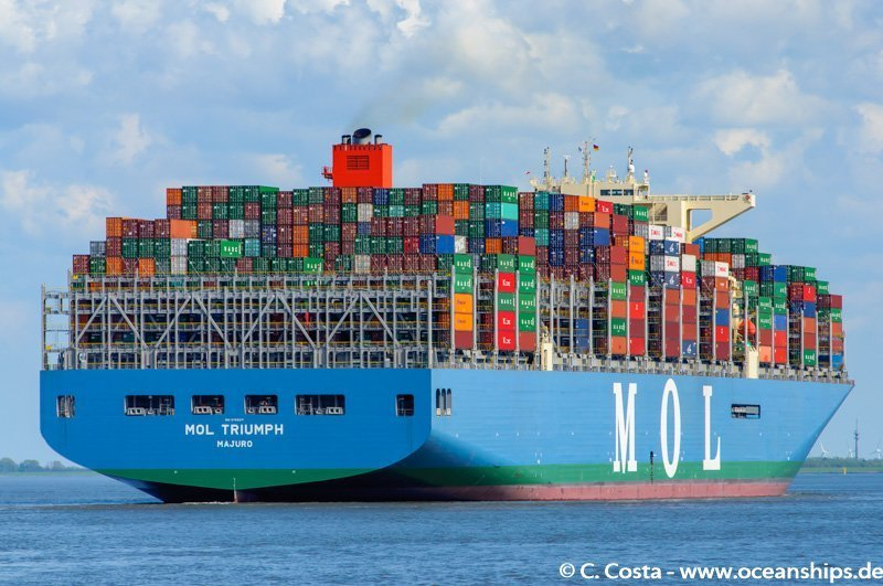 MOL Triumph added to the world shipping fleet in March 2017 as the world largest container ship at the time. Ship construction was done by Samsung Heavy Industries Co., Ltd in South Korea. She was the 1st vessel to have a capacity exceeding 20,000 TEU. She has a capacity of 20,170 TEU and deployed in THE Alliance's Asia to Europe trade via the FE2 service. Her maiden voyage from Xingang, china to Europe via Suez canal was on April 2017. MOL has construcetd another five of 20,000 TEU capacity ships to its fleet followed by MOL Triumph. vessel dimension LOA: 400 m, Breadth: 58.8m, Depth: 32.8 m.Low friction underwater paint, high efficiency propeller and rudder, Savor Stator as a stream fin on the hull body, and an optimized fine hull form are some technologies use to redue the CO2 emission of the vessel.