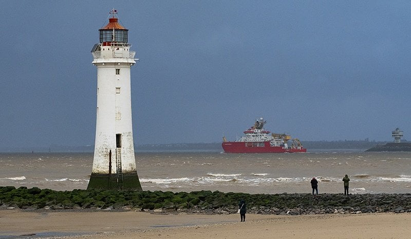 RRS Sir David Attenborough leaves the River Mersey